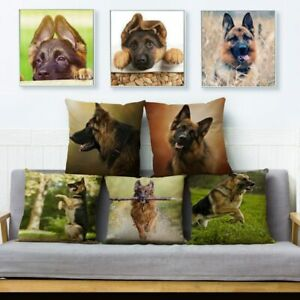 German Shepherd Dog Print Throw Cushion Covers Linen Pillows Sofa Home Decor Pet