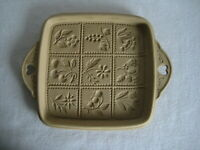 1988 Brown Bag Cookie Art Mold Flowers & Fruit Ceramic Pan Square Heart Handles
