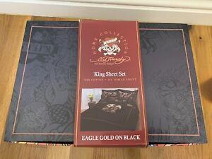 Ed Hardy King Sheet Set Eagle Gold Black Bedding By Christian Audigier NEW