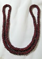"""Vintage Rare Gorgeous Deep Red Round Garnet Bead Rope Necklace 32"""" long 115g. wt"""