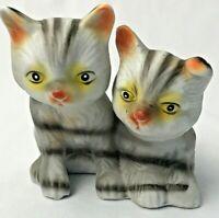 Artmark Grey & Black Striped Tabby Kitten Cats Figurine Porcelain Taiwan Vintage