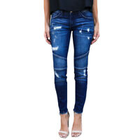 Women Skinny Jeans Slim Fit Straight Trousers Denim Ripped Stretch Pants Summer