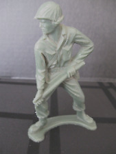 TIM-MEE TOY Vintage Army Military Soldier with Metal Detector Plastic Green