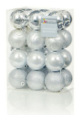 24 x Large Silver Baubles 6cm Christmas Tree Decorations Glitter Matte & Shiny