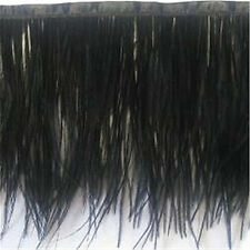 "18"" Length of Jet Black Ostrich Fringe on Bias tape Feathers - US Seller"