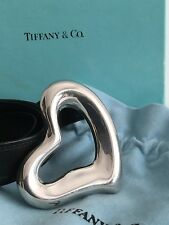 TIFFANY & CO. ELSA PERETTI SILVER OPEN HEART BELT BUCKLE & BLACK LEATHER BELT