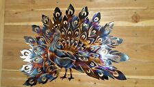 "Beautiful Peacock Wall Art 18"" wide hand made in waco tx home decor"