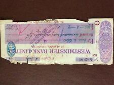 b1u ephemera cashed westminster bank ltd 42181 july 1929 torn