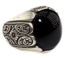 Sterling silver men ring, Steel pen processing handmade, jet natural stone