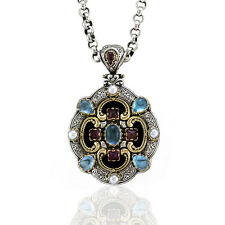 Konstantino Multi-Gemstone Pendant in Sterling Silver and 18KY & 14KYGold | FJ