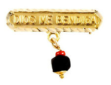 "14KT GP BABY ""DIOS ME BENDIGA"" ""GOD BLESS ME"" AZABACHE LUCKY CHARM EVIL EYE PIN"