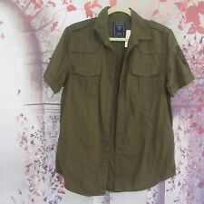Guess Army Green Button Down Short Sleeve Shirt Size S