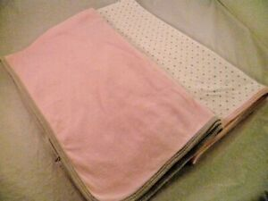 SET 2 CARTERS RECEIVING SWADDLE BABY BLANKET 1 PINK 1 WHITE PINK GRAY POLKA DOTS
