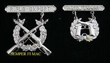 RIFLE PISTOL EXPERT Marksmanship Qualification Badge SET PIN US MARINES UNIFORM