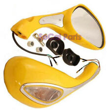 Yellow Mirrors w/built in blinkers set for 50cc 150cc Moped Scooters (8mm thread