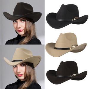 Women Men Cowboy Hat Western Style Fedora Sun Hat Outback Riding Wide Brim Cap