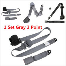 1 Set Gray 3 Point Automatic Car Front Seat Belt Buckle Retractable Safety Strap