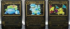 Charizard, Venusaur, Blastoise Shadowless 1st Ed Black Metal Custom Card