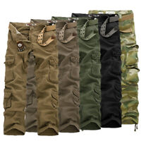 Mens Cargo Work Trousers Army Military Combat Hiking Pockets Casual Camo Trouser