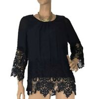 🌻 MISSY Q SIZE 10 SELENA TUNIC STYLE TOP NAVY WITH LACE DETAIL BNWT