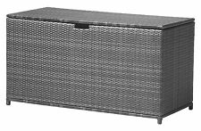 XXL Polyrattan Auflagenbox Havanna Gartenbox Gartentruhe Kissenbox Alu Box grau