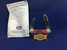 Case Brothers Canoe Knife Red Bone Handles Scrolled Bolsters Mint- SN# 145 #20