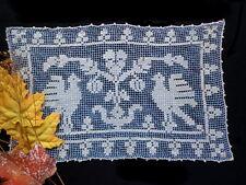 RARE Antique Italian Handmade Figural Lace BLUE! Placemat Tablecloth BOSA Birds