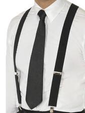20s Gangster Black Elasticated Braces Smiffys Fancy Dress