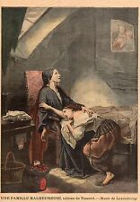LUXEMBOURG MUSEE UNE FAMILLE MALHEUREUSE TABLEAU DE TASSAERT IMAGE 1897 PRINT