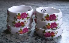 More details for set of 6 bone china old country rose pattern napkin rings