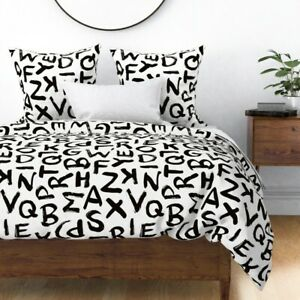 Abc Sateen Duvet Cover by Roostery