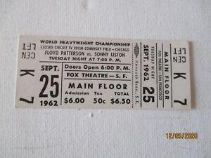 VINTAGE 1962 CHAMPIONSHIP BOXING TICKET - LISTON VS PATTERSON - FREE SHIPPING
