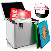 "LP 80 x 12"" Vinyl Record Box Storage DJ Case SILVER with Anti-Static Cloth"
