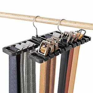 2Packs Tie Belt Rack Bar Hanger Holder Hook Closet Organizer Storage Rotating US