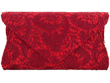 Ladies Red Satin Lace Clutch Bag Evening Party Prom Races Bridal