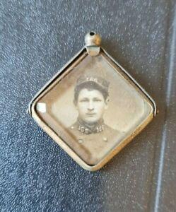 ancien médaille pendentif en cuivre porte photo ww1