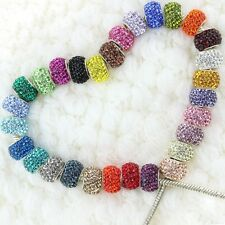 Fashion Czech Crystal 925 Sterling Silver Large Hole European Charms Beads 14mm