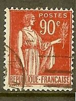 "FRANCE TIMBRE STAMP YVERT N° 285 "" TYPE PAIX , 90C ROUGE "" OBLITERE TB"