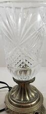 Vintage GSA Godinger Silver Art Cut Glass Crystal Electric Table Desk Lamp Light