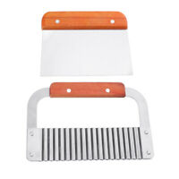 2x Wooden Handle Stainless Steel Vegetable Soap Cutter Straight Wavy Slicer
