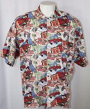 Monzini Hawaiian Style Shirt White Route 66 Maps Classic Car Cotton Rayon Men XL
