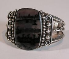1960s Native American Navajo Indian Silver And Petrified Wood Cuff Bracelet