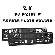 2 x Flexible Black Number Plate Holders Licence Plate Surrounds Frames ABS O1