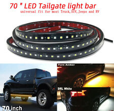 "2Pcs 70"" Car Side Running Board LED Light Amber White Turn Signal DRL Strip Bar"