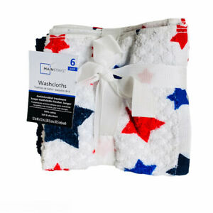 Mainstays Patriotic 4th of July Stars & Solids 100% Cotton Washcloths 6 Pack