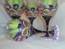 HAND PAINTED FAT TUESDAY/MARDIS GRAS GOBLETS./ SET OF 4(MADE IN THE USA)