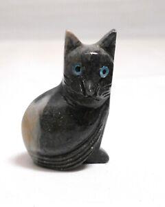 chat en stéatite miniature de collection, cat, poes,chat en pierre   TP12-10