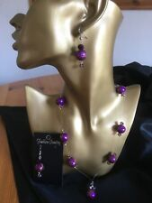 Handmade Purple  Drawbench & Ab Bead Wire Necklace magnetic Clasp & Earring Set