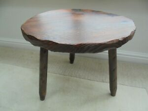 Vintage French Breton 3 legged coffee table, rustic beaten effect