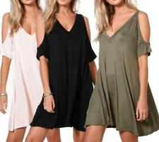 V-Neck Short Sleeve Dresses for Women with Cold Shoulder